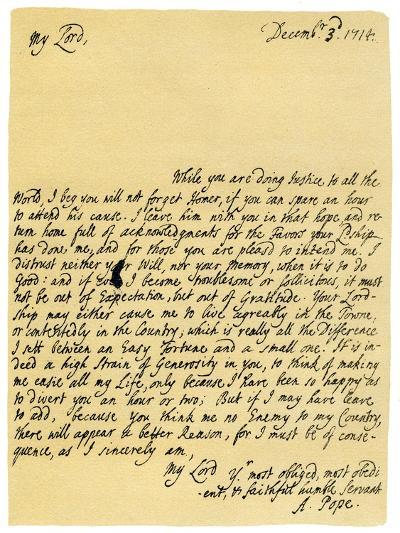Letter from Alexander Pope to Charles Montagu, 3rd December 1714-Alexander Pope-Giclee Print