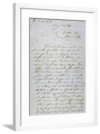 Letter from Amilcare Ponchielli to Bortolo Piatti Informing Him That He Has Altered Sheet Music--Framed Giclee Print
