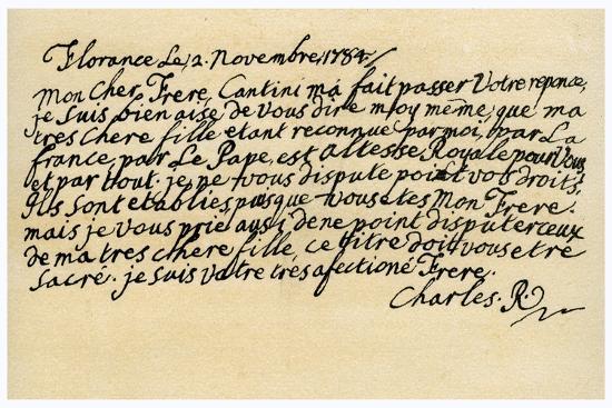 Letter from Charles Edward Stuart to His Brother Henry Benedict, 2nd November 1784-Charles Edward Stuart-Giclee Print
