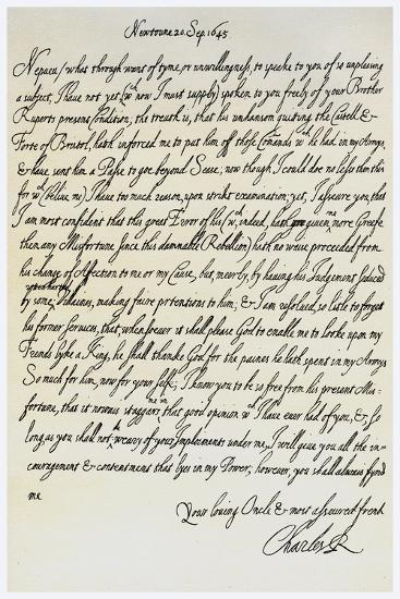 Letter from Charles I to His Nephew, Prince Maurice, 20th September 1645--Giclee Print