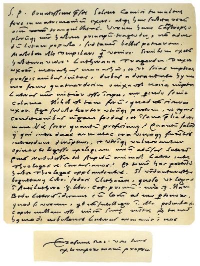 Letter from Desiderius Erasmus to Nicholas Everaerts, 24th December 1525-Desiderius Erasmus-Giclee Print
