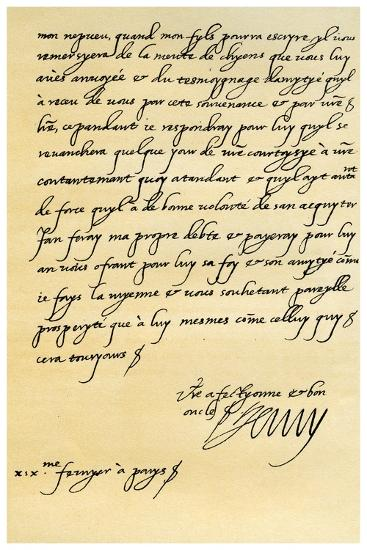 Letter from Henry IV of France to Henry, Prince of Wales, 19th February 1606--Giclee Print