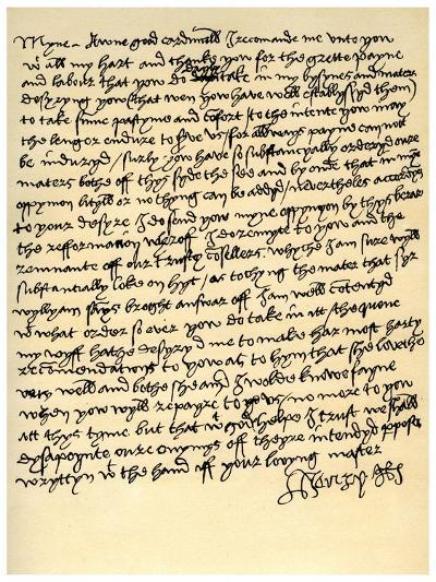 Letter from Henry VIII to Cardinal Wolsey, C1518--Giclee Print