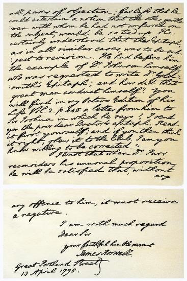 Letter from James Boswell to Edmond Malone, 13th April 1795-James Boswell-Giclee Print