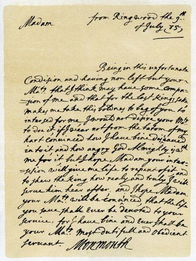 Letter from James, Duke of Monmouth to the Catherine of Braganza, Ringwood, 9th July, 1685--Giclee Print