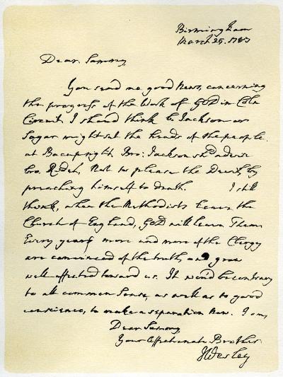 Letter from John Wesley to Samuel Bradburn, 25th March 1783-John Wesley-Giclee Print