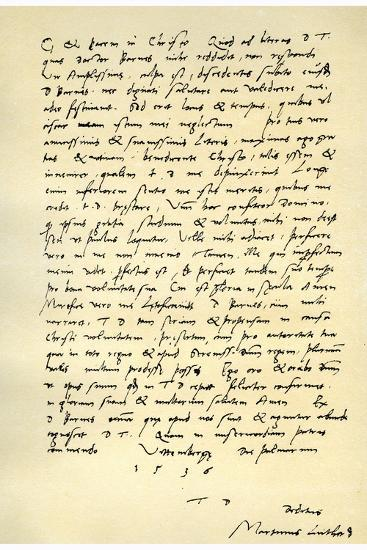 Letter from Martin Luther to Thomas Cromwell, 9th April 1536-Martin Luther-Giclee Print