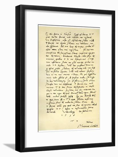 Letter from Martin Luther to Thomas Cromwell, 9th April 1536-Martin Luther-Framed Giclee Print
