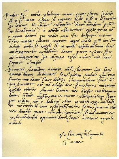 Letter from Michelangelo Buonarroti to His Father, June 1508-Michelangelo Buonarroti-Giclee Print