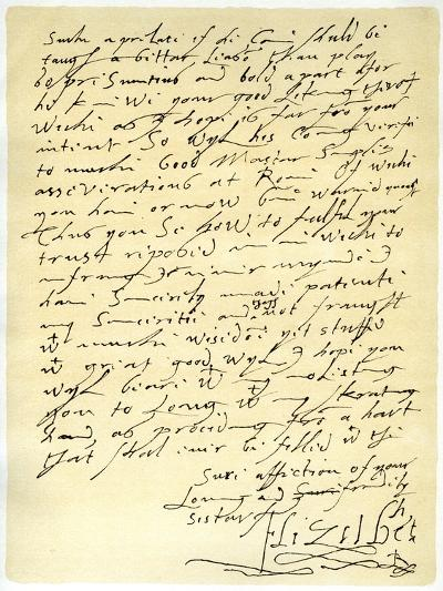 Letter from Queen Elizabeth I to James VI of Scotland, 5th January 1603--Giclee Print