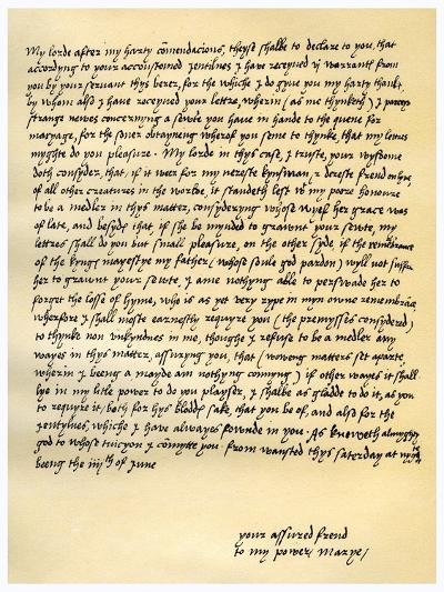 Letter from Queen Mary I to Lord Seymour of Sudeley, 4th June 1547--Giclee Print