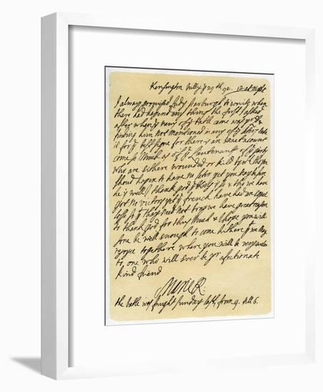 Letter from Queen Mary II to Frances Lumley, 29th July 1692--Framed Giclee Print