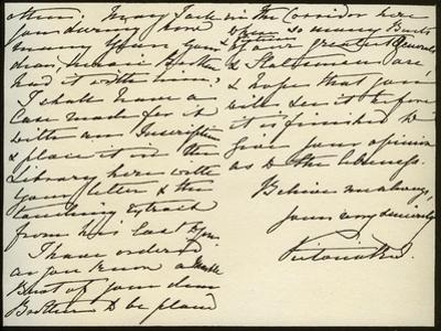 Letter from Queen Victoria to Mary Augusta Gordon, Windsor Castle, 16th March 1885