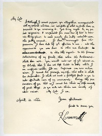 Letter from Richard Cromwell, Lord Protector, to General George Monck, 18th April 1660-Richard Cromwell-Giclee Print