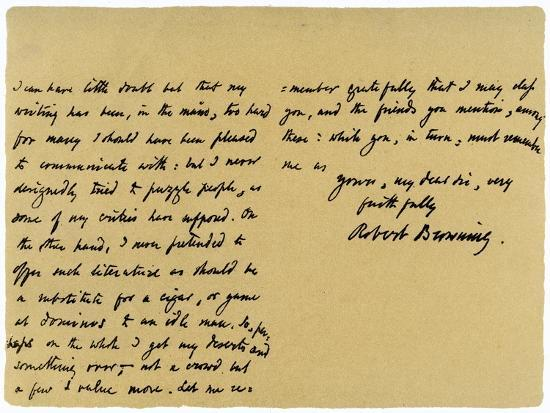 Letter from Robert Browning to William G Kingsland, 27th November 1868-Robert Browning-Giclee Print