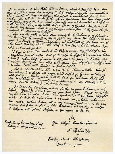 Letter from Samuel Richardson, 22nd March 1754-Samuel Richardson-Giclee Print