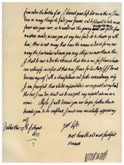 Letter from Viscount Thomas Wentworth to James Hay, 27th August 1633-Thomas Wentworth-Giclee Print