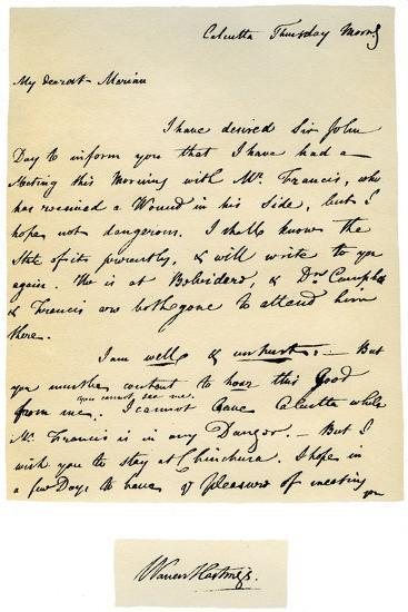 Letter from Warren Hastings, Governor-General of Bengal to His Wife, 17th August 1780-Warren Hastings-Giclee Print
