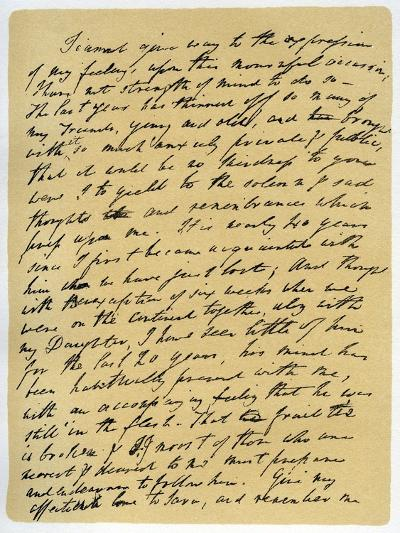 Letter from William Wordsworth on the Death of Samuel Taylor Coleridge, 29th July 1834-William Wordsworth-Giclee Print