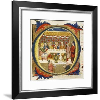 Letter O Depicting the Supper at Emmaus, from an Illuminated Coral by Turone--Framed Giclee Print