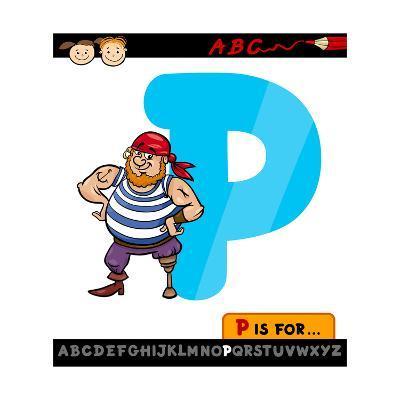 Letter P With Pirate Cartoon Illustration-Igor Zakowski-Art Print
