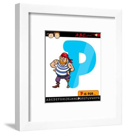 Letter P With Pirate Cartoon Illustration-Igor Zakowski-Framed Art Print
