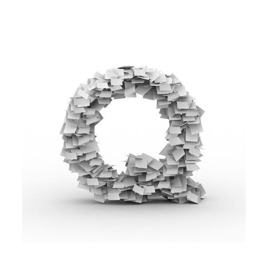 Letter Q, Stacked From Paper Sheets-iunewind-Art Print