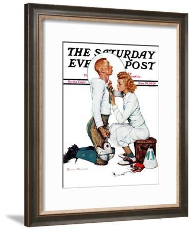 """""""Letter Sweater"""" (boy & girl) Saturday Evening Post Cover, November 19,1938-Norman Rockwell-Framed Giclee Print"""