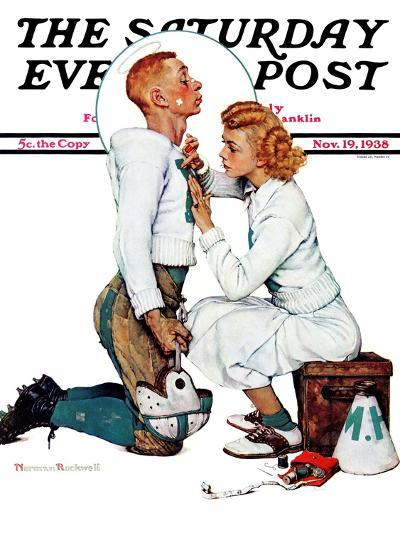 """Letter Sweater"" (boy & girl) Saturday Evening Post Cover, November 19,1938-Norman Rockwell-Giclee Print"