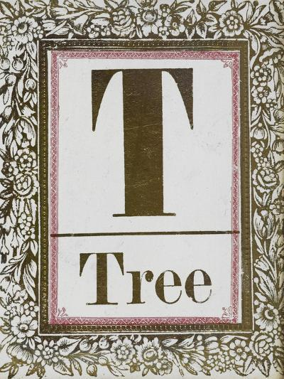 Letter T: Tree. Gold Letter With Decorative Border--Giclee Print