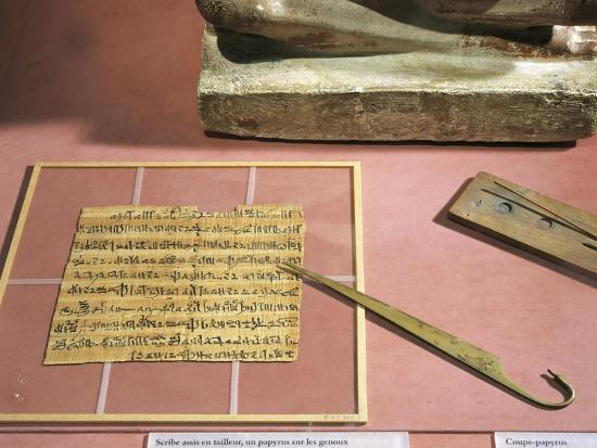 Letter Written on Papyrus and Copper Papyrus Knife--Giclee Print