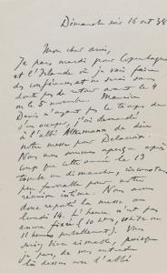Lettre autographe de Paul Jamot à Maurice Serullaz dimanche soir, 16 Octobre 1938 ; doubfeuillet