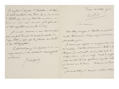Lettre autographe signée de René-Paul Huet au directeur du musée du Louvre datée du 16 octobre 1908--Giclee Print