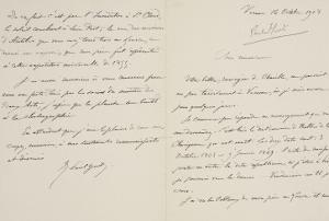 Lettre autographe signée de René-Paul Huet au directeur du musée du Louvre