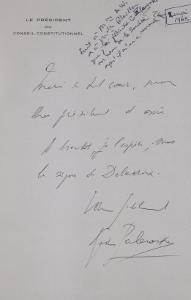 Lettre-autographe signée Gaston Palewski à Raymond Laurent : Il adresse ses remerciements à