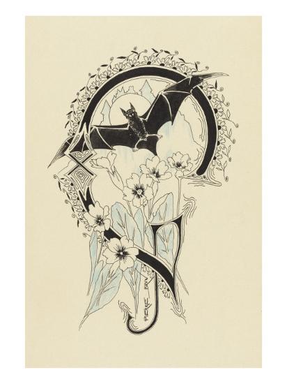 Lettre  ornée  G , avec une chauve-souris et des fleurs-Pierre Brun-Giclee Print