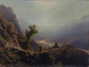 In the Caucasus Mountains, 1879 by Lev Felixovich Lagorio