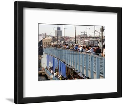 Fishermen Standing on the Galata Bridge, Istanbul, Turkey, Europe