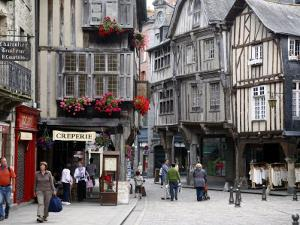 Half Timbered Houses in the Old Town of Dinan, Brittany, France, Europe by Levy Yadid