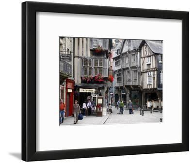 Half Timbered Houses in the Old Town of Dinan, Brittany, France, Europe