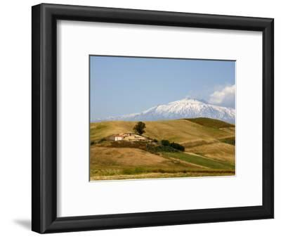 Landscape around Enna with Mount Etna in the Background, Enna, Sicily, Italy, Europe