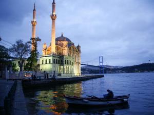 Ortakoy Mecidiye Mosque and the Bosphorus Bridge, Istanbul, Turkey, Europe by Levy Yadid