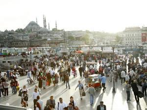 People at Eminonu Square in the Old Town, Istanbul, Turkey, Europe by Levy Yadid
