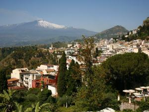 View over Taormina and Mount Etna, Sicily, Italy, Europe by Levy Yadid