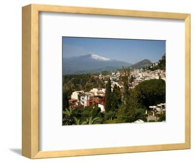 View over Taormina and Mount Etna, Sicily, Italy, Europe