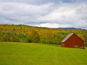 Red Barn in Green Field in Autumn by Lew Robertson