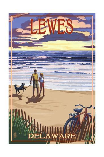 Lewes, Delaware - Beach and Sunset-Lantern Press-Art Print