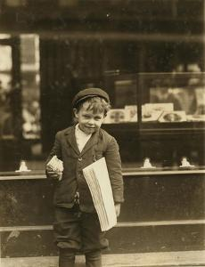 5 Year Old Newsboy Tommy Hawkins Only 3 Ft 4 Ins Tall, Working in St. Louis, Missouri, 1910 by Lewis Wickes Hine