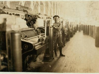 Boy Sweeper by Carding Machines at Lincoln Cotton Mills by Lewis Wickes Hine