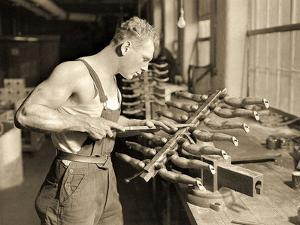 Factory Worker at the Paragon Rubber Company, Massachusetts, 1936 by Lewis Wickes Hine
